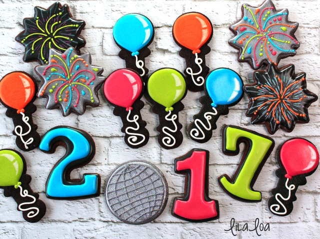 Decorated Sugar Cookies that look like party balloons for birthdays or New Year's Eve -- NYE