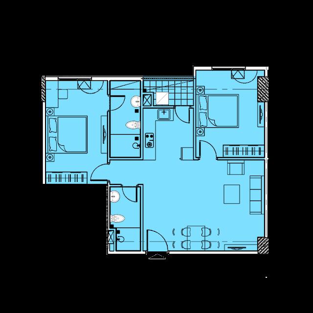 Thiết kế căn hộ A3b tòa Park1,2 chung cư EuroWindow River Park