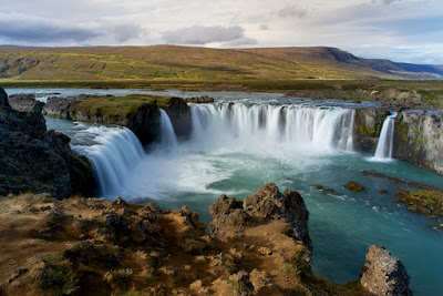 Godafoss on a lovely September day with beautiful weather