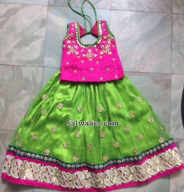 Green Floral Lehenga Pink Kids Blouse