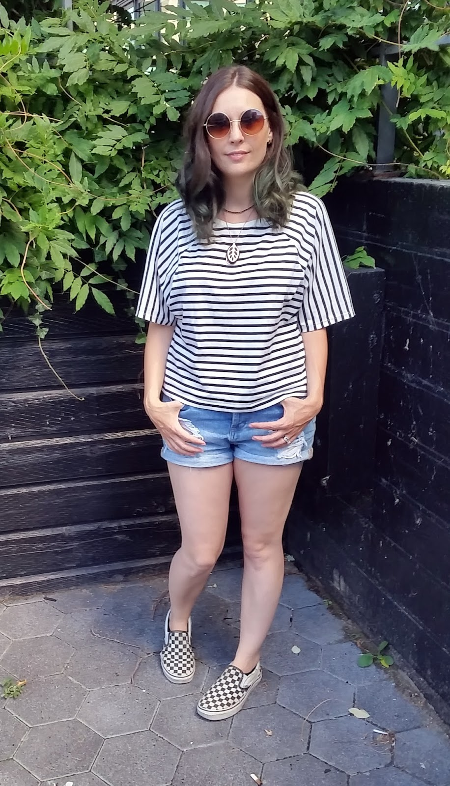 Denim Cutoffs, Nautical Striped T-shirt, Vans, Bellabeat Leaf