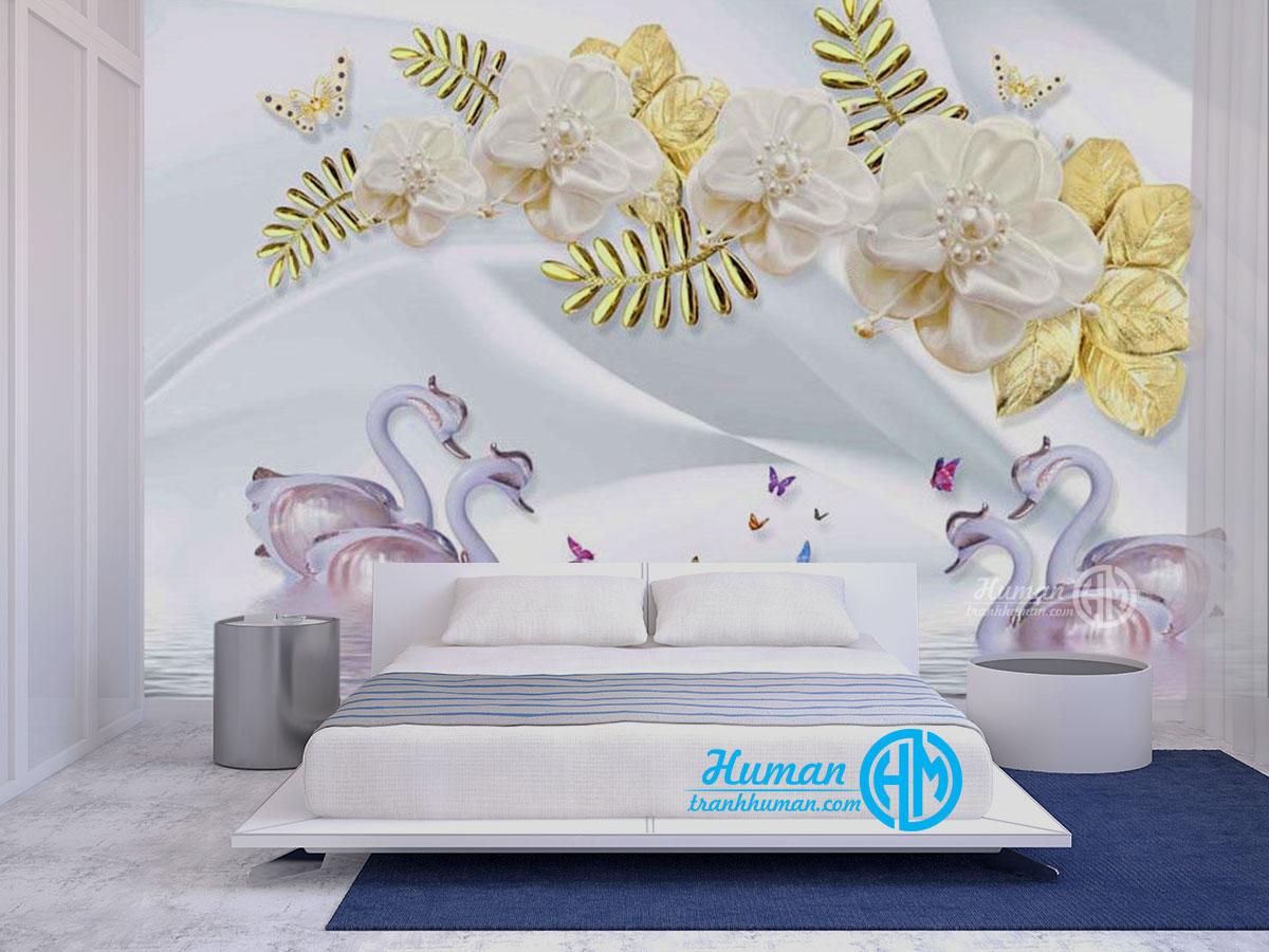 Tranh dán tường 3d thiên nga hoa ngọc trai trang sức