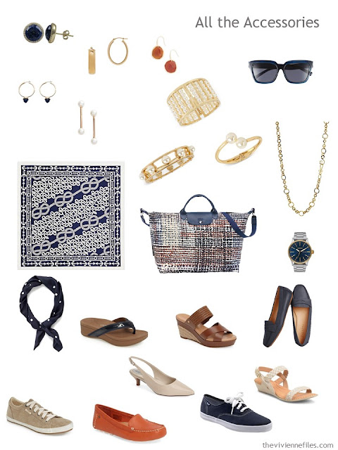 accessories for a navy, khaki, rust and white capsule wardrobe
