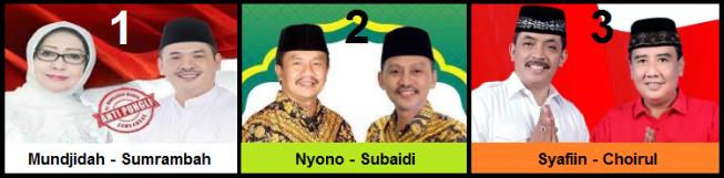 Tiga pasang calon Bupati dan wakil Bupati Kabupaten Jombang 2018