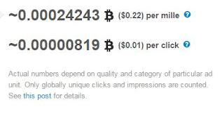 El coste por mil impresiones de A-ads es de 0.22$, por cada click pagan 0.01$