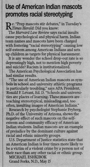 """the use of american indians as mascots essay The commissioner of education of new york, required schools to discuss the issue with the directive that """"the use of native american symbols or depictions as mascots can become a barrier to building safe and nurturing school """" the maryland department of education decided that the schools in maryland must deliberate the issue in result."""