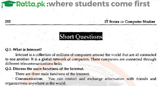 1st Year Computer Chapter 10 Short Questions pdf - ICS Part 1
