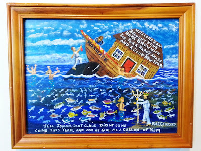 Naive art painting, depicting a sinking ark.