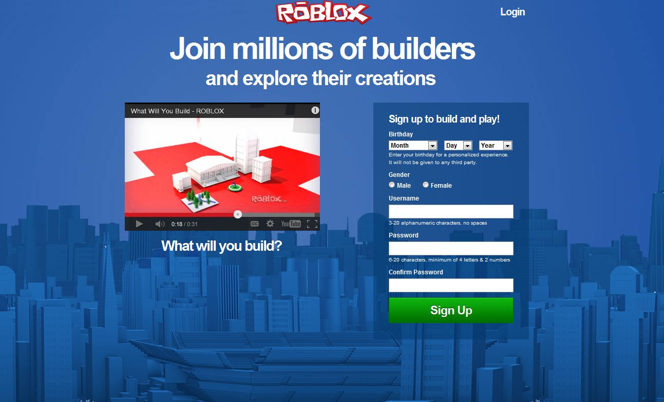 Unofficial Roblox New Roblox Log In Page