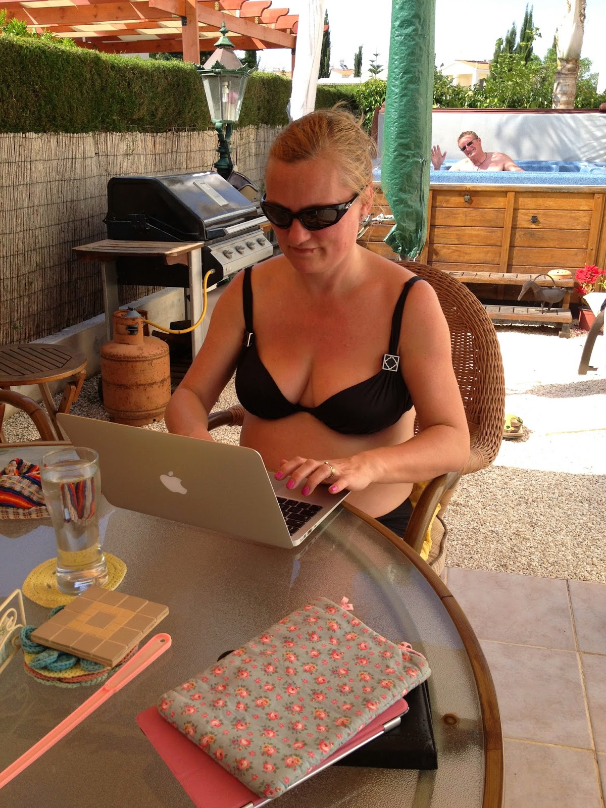 madmumof7 in bikini blogging in Cyprus