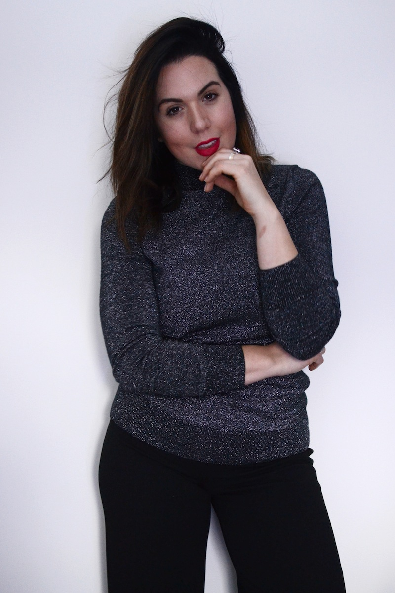 New Years Eve outfit 2017 Le Chateau sparkle mock neck turtleneck vancouver blogger.