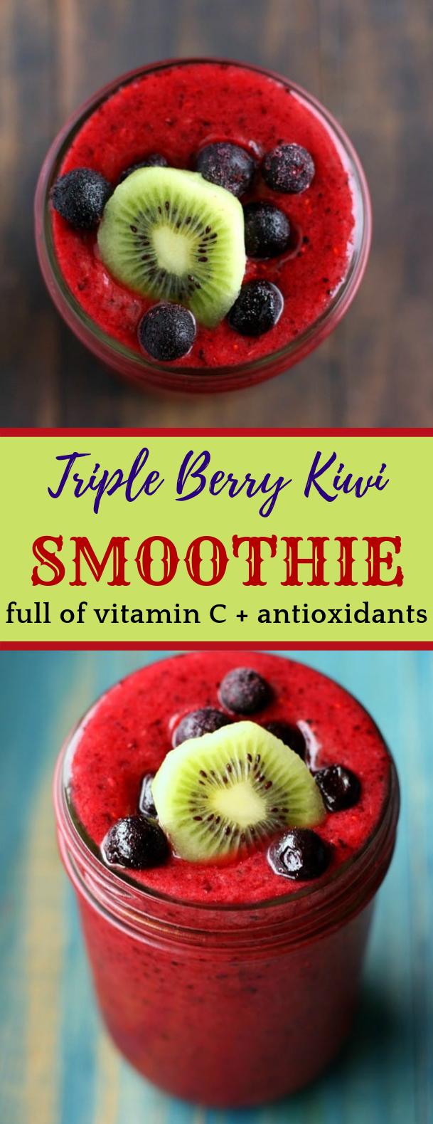 Immunity Boosting Triple Berry Kiwi Smoothie #freshdrink #immune