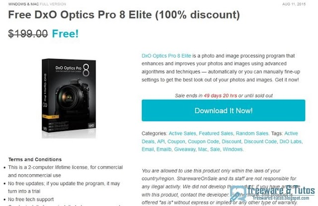 Offre promotionnelle : DxO Optics Pro 8 Elite gratuit !