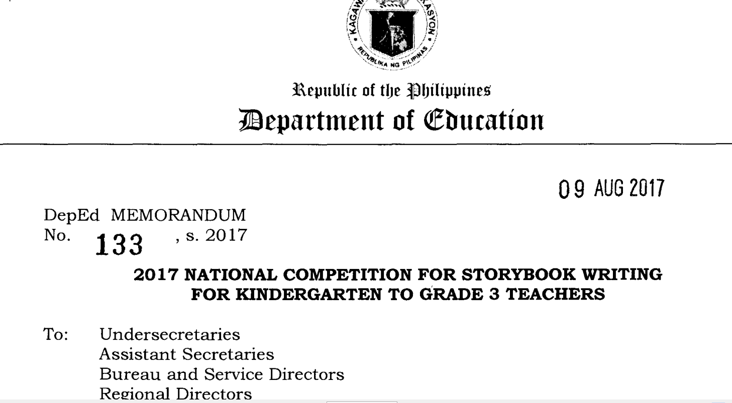 Deped memo 2017 national competition for storybook writing for deped memo 2017 national competition for storybook writing for kindergarten to grade 3 teachers fandeluxe Gallery
