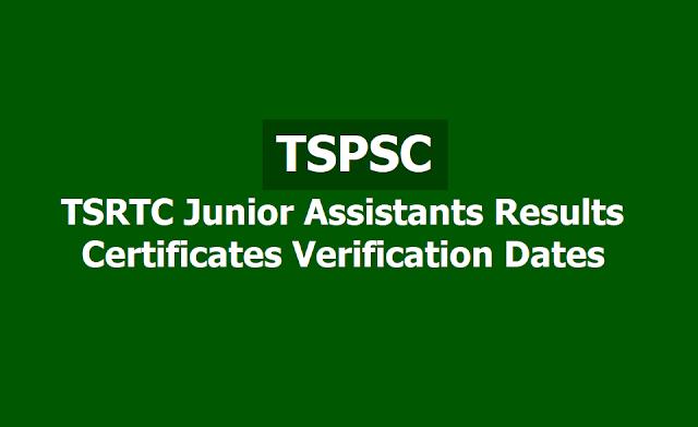 TSPSC TSRTC Junior Assistants Results, Certificates Verification Dates 2019