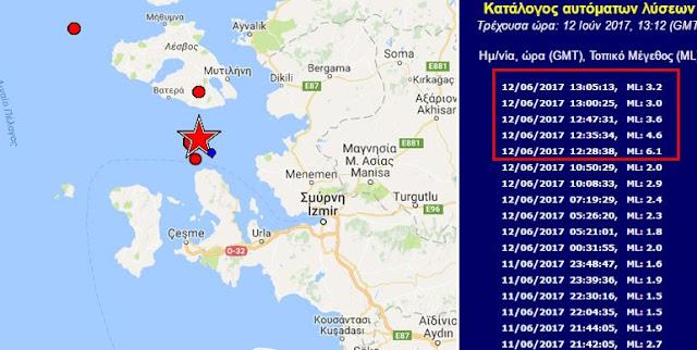 Ισχυρός σεισμός 6,1R νοτιοδυτικά της Μυτιλήνης (βίντεο)