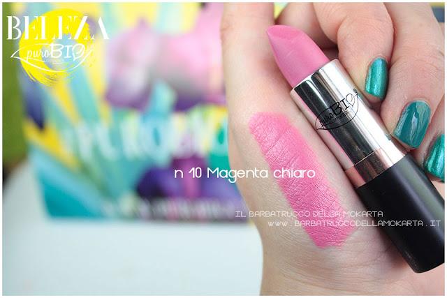 swatches beleza purobio collezione  lipstick 10 magenta chiaro review