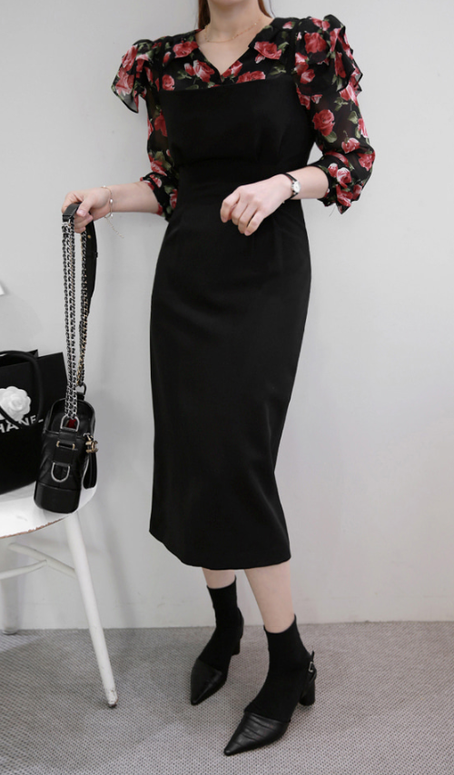 Tapered Waist Straight Neck Dress