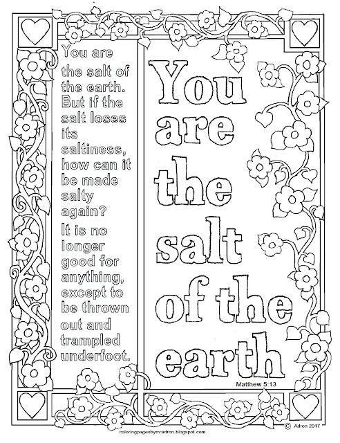 Coloring Pages For Kids By Mr Adron Matthew 513 Print And Color Page You Are The Salt Of The