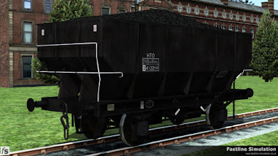 Fastline Simulation: This weathered dia 1/143 unfitted 21T coal hopper has the HTO TOPS code outside of a small boxed data panel.