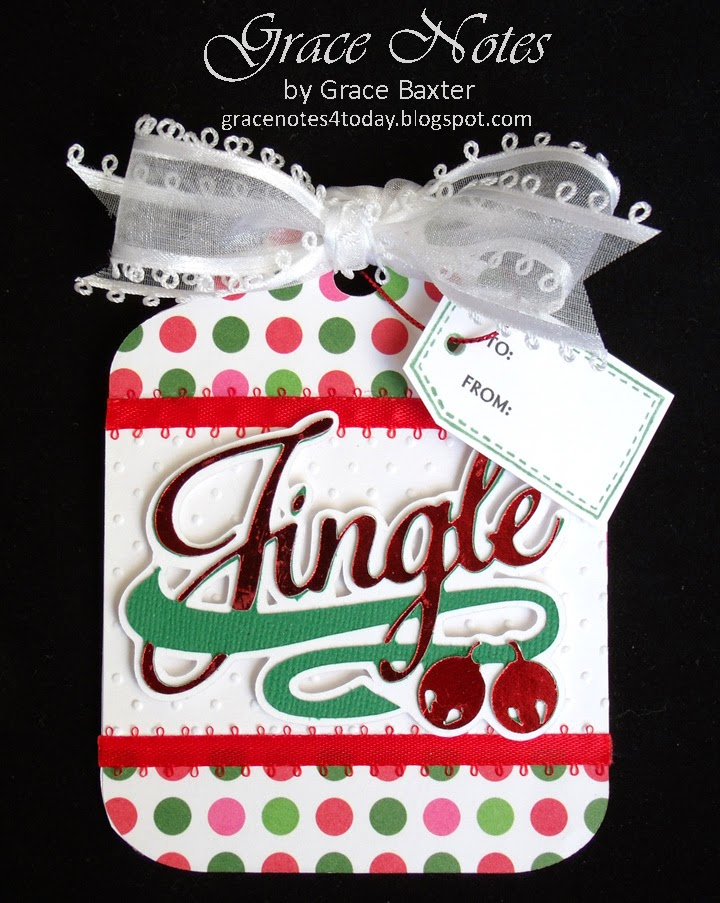 Jingle, large gift tag in 2 versions