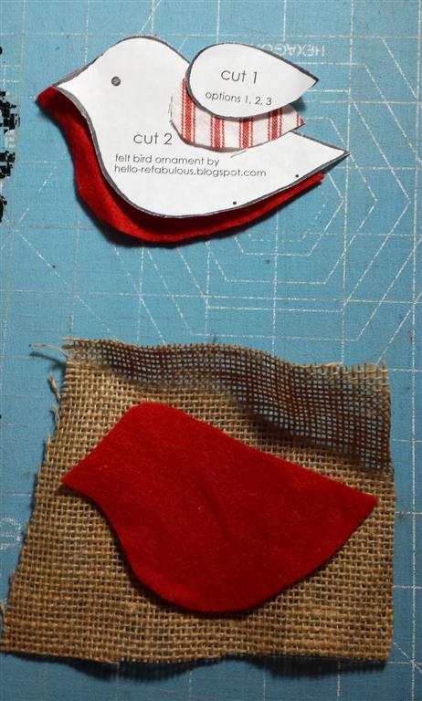 Serapilheira e ornamento do pássaro de feltro como-a, diy, teste padrão e tute no blog refabulous