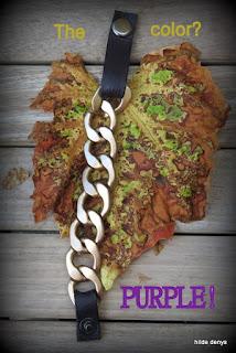 Lovelea's purple leather/metal chain pool wear bracelet.