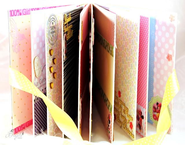 prezent na roczek, album ręcznierobiony, dla diewczynki na urodziny, Myszka Miki, Walt Disney,  Myszka Minie, scrapbooking, handmade