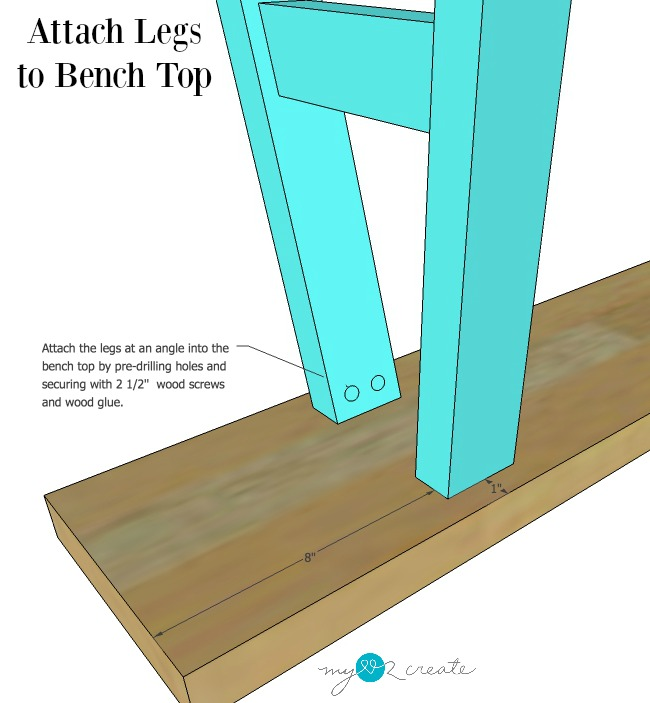 attach leg sections to bench top