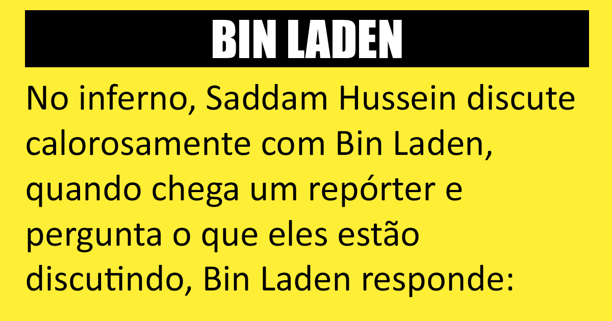 Saddam Hussein e Bin Laden no inferno