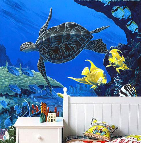 akvaario Tapetti kilpikonna vedenalainen koralliriutta kala akvaario Valokuvatapetti koralli lastenhuone