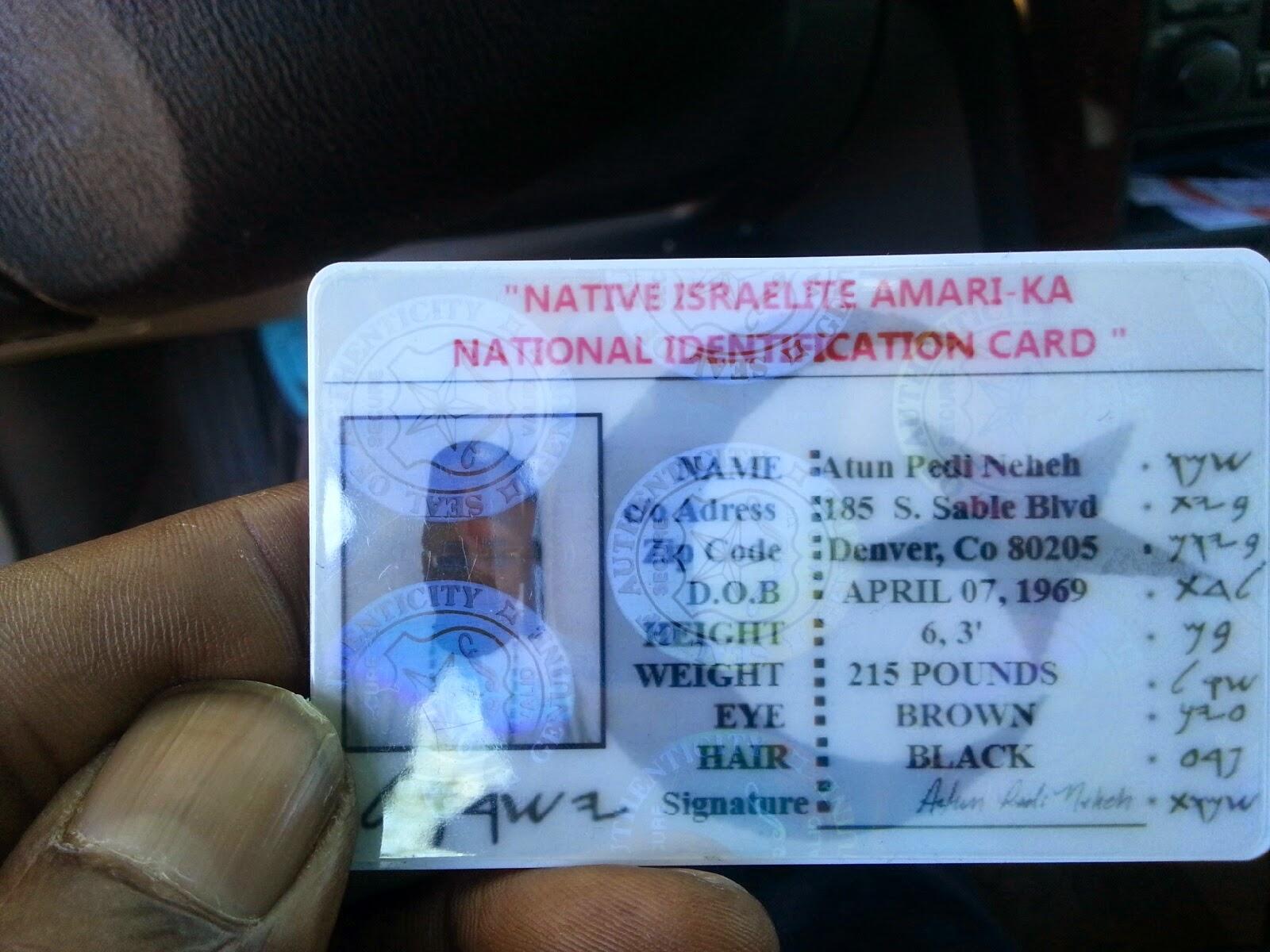 Id Moorish Card Native Identification Service Israelite