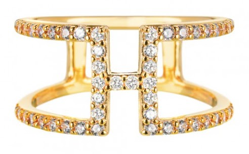 Vamp London Yellow Gold Cubic Zirconia H Bar Ring