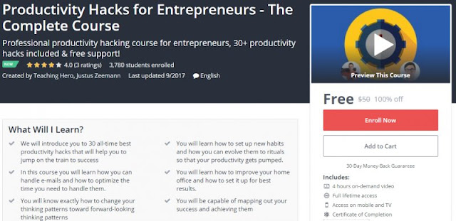 [100% Off] Productivity Hacks for Entrepreneurs - The Complete Course| Worth 50$