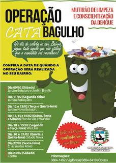 """Prefeitura de Jacupiranga realiza operação """"Cata Bagulho Contra a Dengue"""""""