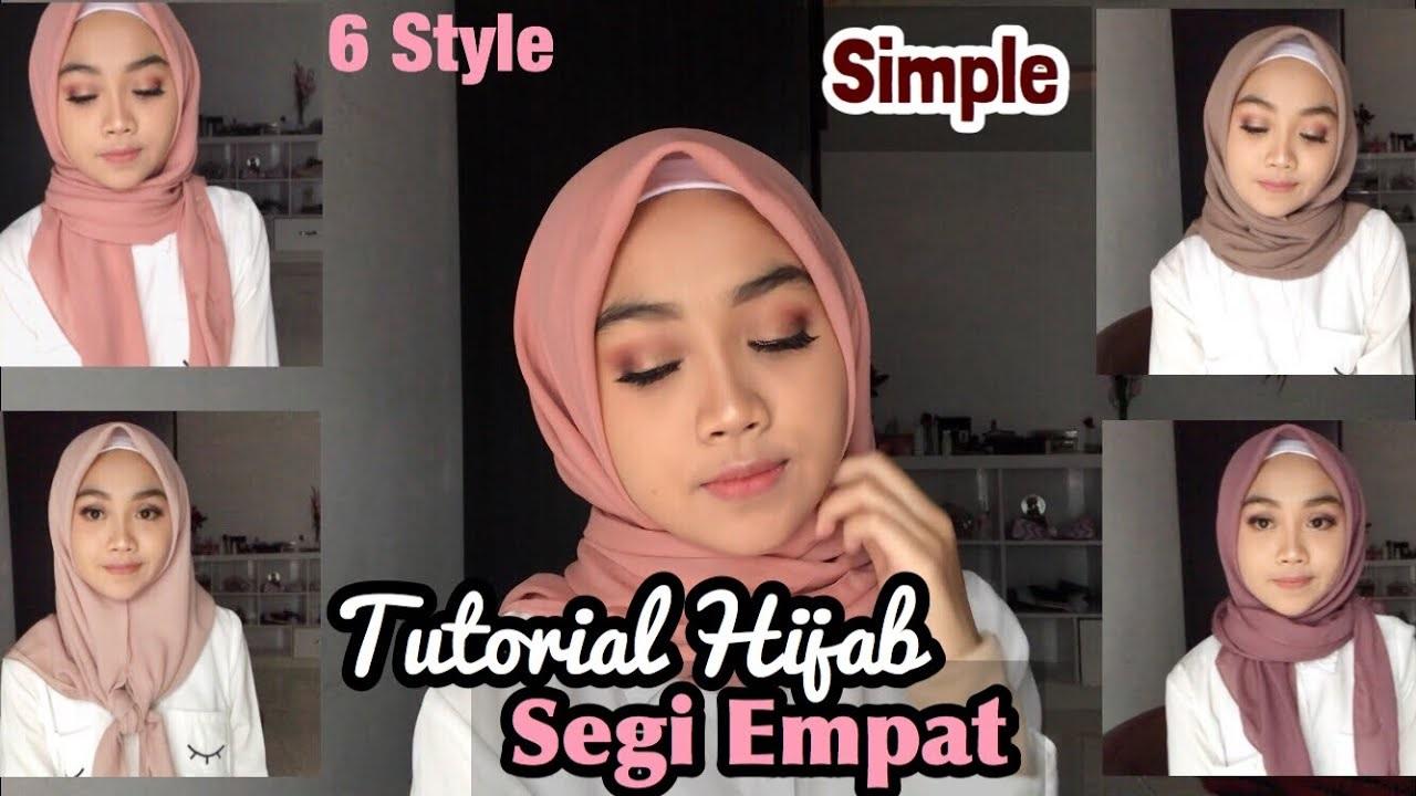 Cara Memakai Jilbab Segi Empat Simple Dan Modis Untuk Wajah Bulat Tanpa Ciput Kaos Distro Lengan Panjang Sambungan Badan