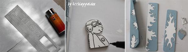 tutorial 3 decorazione biplano di legno con acrilico e pennarelli