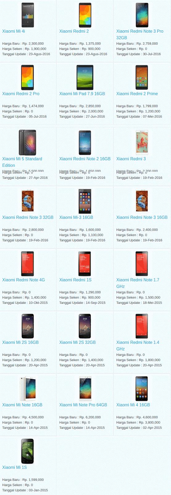 Harga Hp Terbaru Xiaomi September 2016