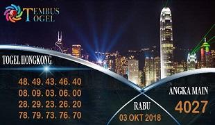 Prediksi Angka Togel Hongkong Rabu 03 Oktober 2018