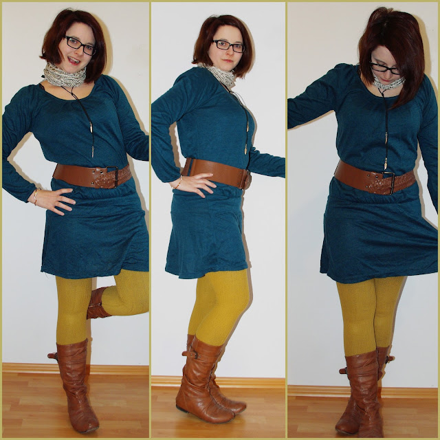 Mustard All the Way! - Senffarbene Strumpfhosen und Kleid //  Mustard Tights & Petrol Dress