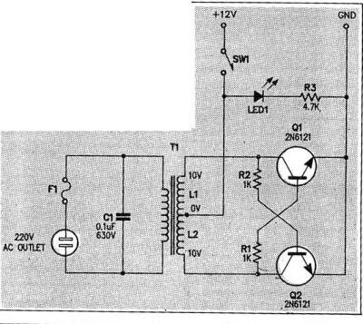 Micro Inverter circuit DC voltage AC 12v x110v Circuit Diagram
