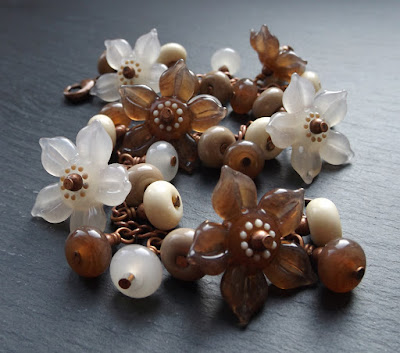Lampwork glass and copper 'Irish Coffee' Garland bracelet by Laura Sparling