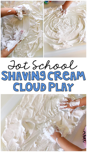Playing with clouds is SUPER easy with this shaving cream cloud sensory bin. Great for tot school, preschool, or even kindergarten!