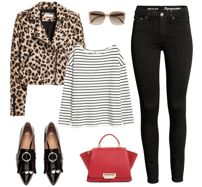 leopard jacket, striped top, red bag, black skinny jeans, black loafers