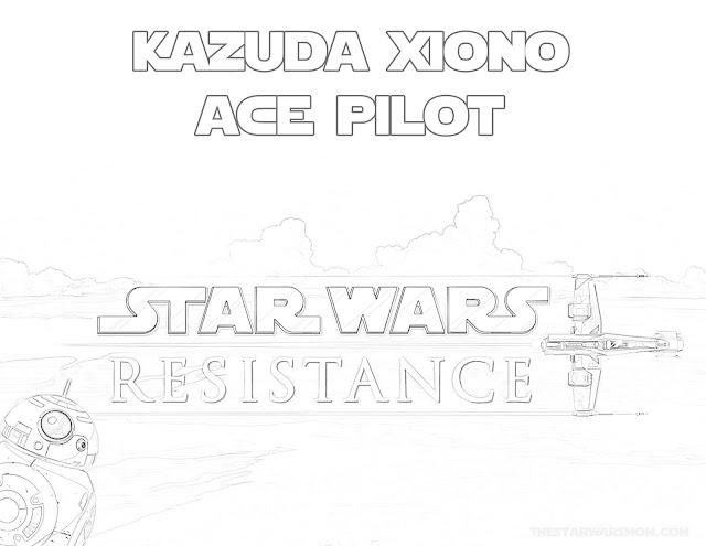 Star Wars Resistance Coloring Page - Kazuda Xiono - Ace Pilot