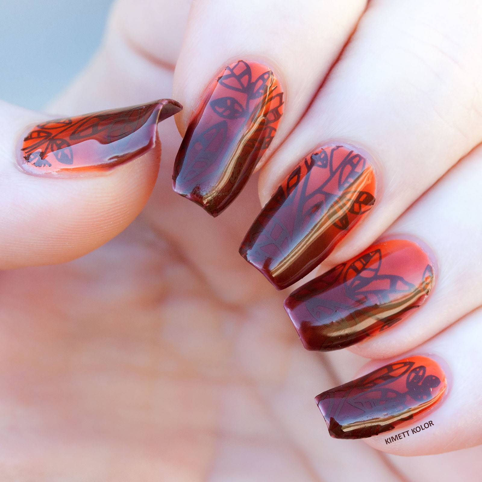 Chocolate Tree Inspired Stamping Nail Art by Kimett Kolor