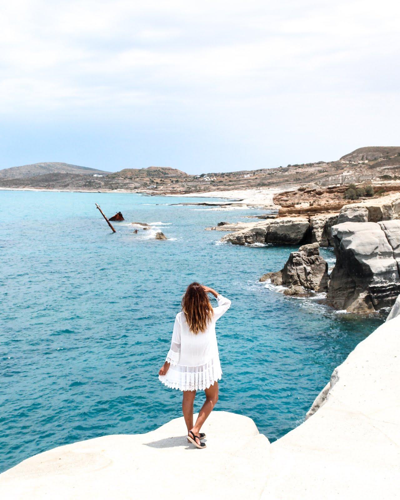 Sarakiniko Beach Shio Wreck in Milos island, Greece