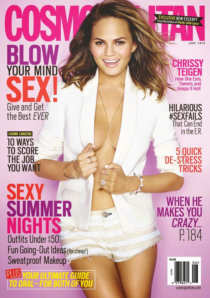 Chrissy Teigen shows off cleavage on three Cosmopolitan US June 2014 issues