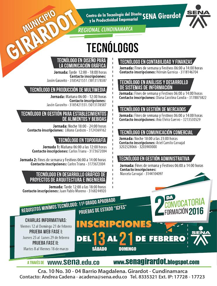 Carreras Tecnológicas para la sede de Girardot
