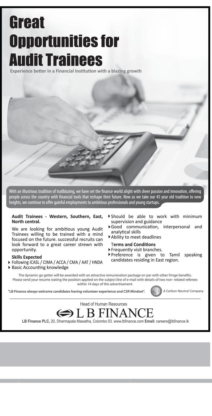 Audit Trainees - LB Finance PLC